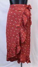 American Eagle Women's Floral Wrap Maxi Skirt SV3 Orange Large NWT