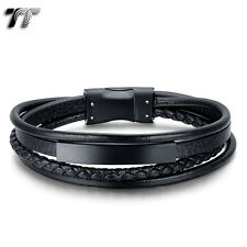 TT Black Genuine Leather 316L Stainless Steel ID Magnet Buckle Bracelet (BR238D)