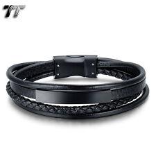 TT Black Genuine Leather 316l Stainless Steel ID Magnet Buckle Bracelet (br238d)