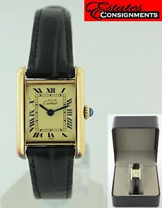 Vintage Cartier Tank 20mm 925 Silver Gold Plated Manual Winding Watch