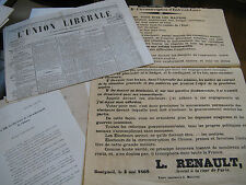 LOT DE 12 TRACTS AFFICHES JOURNAUX ELECTIONS CHINON 1869 TOURAINE INDRE EMPIRE