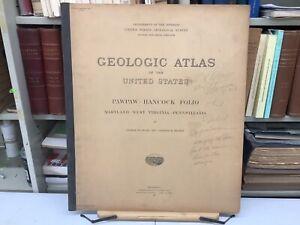 "1912 Pawpaw-Hancock, MD/WV/PA Folio: Geologic Atlas Of The US 21.5 x 18"" Maps"