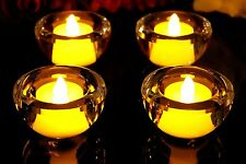 2 Glass Circle Crystal Candle Tealight Holders with Flameless Battery LED Tea