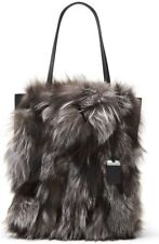 NEW Michael Kors COLLECTION Eleanor Fox Fur Suede and Leather Large Tote