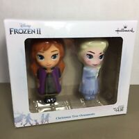 Set of 2 Frozen II Elsa & Anna Christmas Ornaments Hallmark Disney new in box