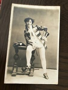 LGBT int YOUNG LADY in 18Th Century Male Drag PANTO? 1900s RP  POSTCARD  7/10