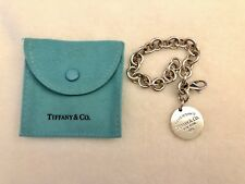 """Authentic Please Return To Tiffany & Co Round Tag Silver Charm Bracelet 7.25"""""""