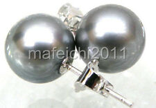 9-10mm south sea pearl earring perfect gray 14k white gold Clasp AAA Jewellery