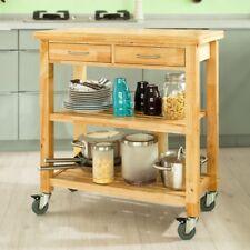 SoBuy® Servierwagen aus Gummi-holz,Küchenwagen,Rollwagen,B80xT40xH90cm FKW24-N