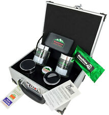 Silver Leather Stash Box Briefcase, Grinder, Tray, Jars, Pen, Lock - Great Gift