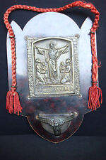 KEEPER OF THE FAMILY ANTIQUE BRASS  ON WOOD HANGING HOLY WATER FONT ICON