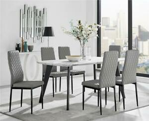 Andria Contemporary Black Leg Marble Effect Dining Table and  6 Milan Black Leg