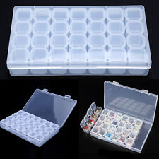 28Grid Clear Acrylic Empty Storage Box Nail Art Display Removable Container Case