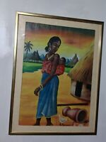 ORIGINAL ART BLACK HISTORY WOMAN CARRYING SON ON BACK FRAMED SGND IN GLASS
