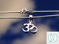 925 Sterling Silver Om Hindu Pendant Luck Karma 18'' Necklace