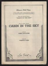 "Ethel Waters ""CABIN IN THE SKY"" Vernon Duke / John La Touche 1943 Sheet Music"