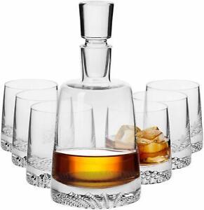 Krosno Fjord Whiskygläser Whiskey Set | 1 x 950 ml Karaffe & 6 x 300 ml Glas
