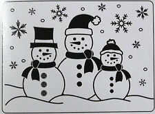 3 Snowmen Christmas  Embossing Folder  4-1/4  x  5-3/4 Inches Darice  NIP