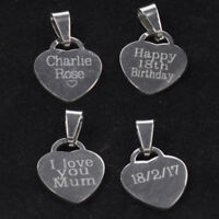 Personalised Stainless Steel Heart Oval Charm Any text engraved free both sides