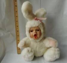 "Plush Bunny Rabbit with Porcelain Baby Face w Eyelashes & Brown Eyes 11"""