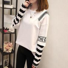 2018Fall Korean Women Splice Long Sleeve T Shirt Student Casual Loose Blouse Top
