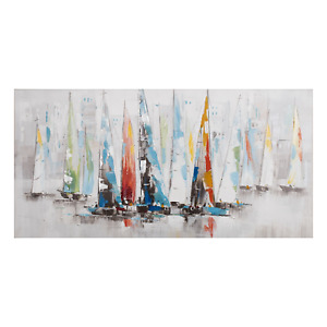 Painting Sailing Print Artwork Wall Decor Canvas Stretched Wood Frame 70x140cm