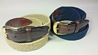 Men's Woven Braided Textile & Leather Belt Belts Lot of 2 Beige & Navy BIG 50-52