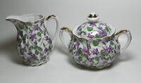 Violets Sugar Bowl & Creamer - Made in Japan