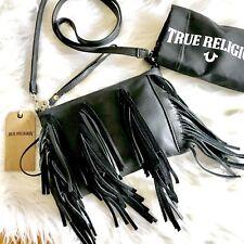 True Religion Sasha Fringe Crossbody Handbag Black Leather  $228 NWT