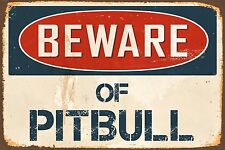 "Beware Of Pitbull 8"" x 12"" Vintage Aluminum Retro Metal Sign VS473"