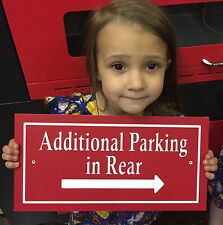 """Rectangle Additional Parking in Rear Sign 14x7"""" 1/4"""" King ColorCore Red/White"""