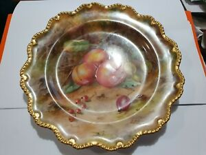 ROYAL WORCESTER SIGNED LOUIS FLEXMAN HAND PAINTED FRUIT PLATE 1ST QUALITY 1920S
