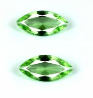 Green Sapphire Ceylon Gemstone Pair 4.10 Ct Natural Marquise Cut Certified DB69