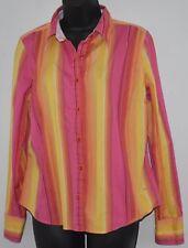 Vintage Tommy Hilfiger Button Shirt Womens Large Striped PINK YELLOW ORANGE ....