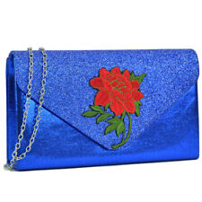 New Women Handbag Velvety Frosted Evening Clutch Day Bag Flower Patch Purse Blue