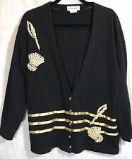 Cardigan Jacket Womens Size Large BLACK GOLD Embellished SEASHELLS NAUTICAL 340i