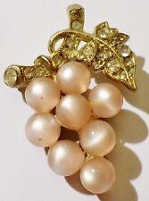 broche bijou vintage grappe couleur or perle rose nacré cristal diamant 142