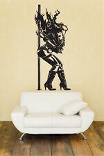 Exotic Dancer Huge Wall Vinyl Decal,stripper pole,lingerie,boots,dance,art,sexy