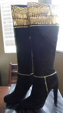 ROBERTO CAVALLI Black & Gold Suede Tall Boots Size 6 NEW