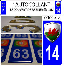 1 sticker plaque immatriculation auto DOMING 3D RESINE  BLASON PAYS-DE-GALLES 14