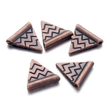 100 Tibetan Alloy Triangle Beads Carved Red Copper Loose Charms Nickel Free 14mm