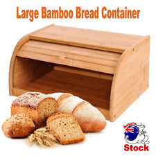 BAMBOO BREAD BIN STORAGE BOX KITCHEN FOOD STORAGE LOAF CONTAINER ROLL TOP PASTRY