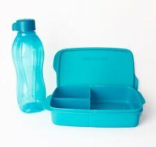 TUPPERWARE Lunchbox Clevere Pause 1L Türkis + EcoEasy 750ml Blau Schraub