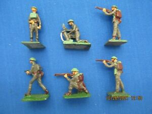 """S.A.E 30 MM LEAD FIGURES """"BRITISH INFANTRY IN ACTION"""" WW II SIX (6) PIECES 2ND S"""