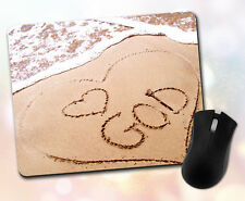 Religious ~ I Love God, Heart, Beach, Ocean, Shore, Waves ~ Vivid Mouse Pad