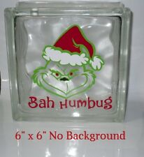 "Cute Bah Humbug Christmas Decal Sticker for 8"" Glass Block DIY Crafts"