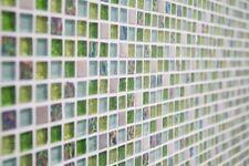 Mosaïque carreau translucide cristal inox verre vert cuisine 92-0506_b |1 plaque