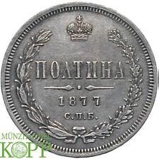 G771) Rusia 1/2 rublos (poltina) 1877 Alexander II. 1855-1881