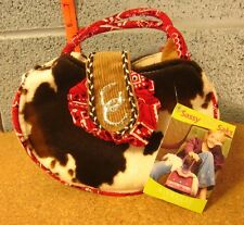 SASSY SAKS bag Holstein cow print NWT girls purse Horseshoes w/ plush deer doll