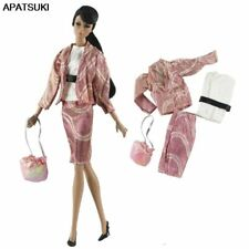 """Pink Fashion Doll Clothes Set for 11.5"""" Doll Outfits Coat Shirt Skirt Bag 1/6"""